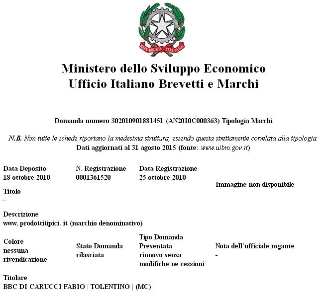 Certificato ufficio Italiano Brevetti e Marchi