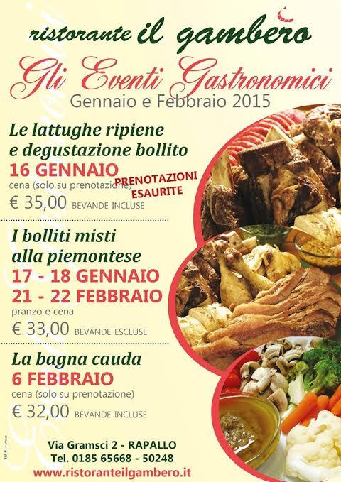 """Gli eventi gastronomici del Ristorante """"Il Gambero"""""""